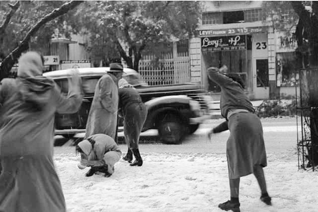 Photo en noir et blanc représentant Tel-Aviv sous la neige en 1950
