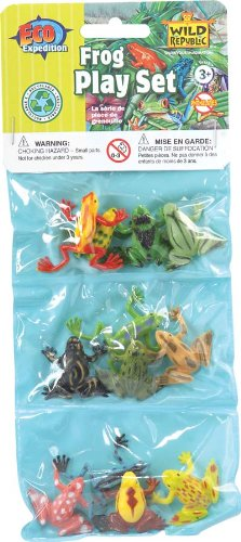 Photo représentant un sachet contenant des grenouilles en plastique Haggadah Jewpop